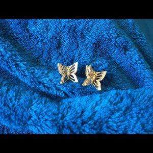 Monet Gold Tone Butterfly Earrings